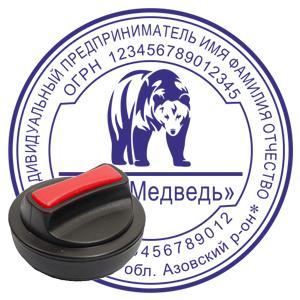 печать ип стандартная с логотипом на ручной оснастке с кнопкой ростов